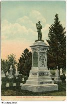 Image of Soldiers' and Sailors' Monument, Rushville, Indiana, ca. 1908 - Postmarked February 17, 1908.
