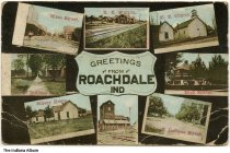 Image of Eight views of Roachdale, Indiana, ca. 1910 - Seen are Wasa Street, the railroad station, the Methodist Episcopal Church, Indiana Street, the high school, the Sillery home, the grain elevator, and South Indiana Street.