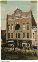 Image of Masonic Temple and Post Office, Seymour, Indiana, ca. 1910 - Also seen is a bowling alley, a photography studio, and a music store.