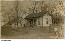 """Image of Home and barn of D. C. Powner, Greensburg, Indiana, ca. 1905 - The mailbox reads """"D. C. Powner"""". Postmarked February 13, 190(?) from Greensburg, Indiana.  In a marriage record for Cecil R. Powner of Decatur County to Cora Belt, it states that his father is Dewitt C. Powner of Decatur County, who may be the owner of this home."""