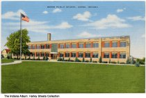 Image of Public School, Berne, Indiana, ca. 1940 - On the back it states that the school was completed in 1939.