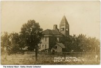 Image of Public School, Dyer, Indiana, ca. 1910 - Postmarked August 5, 1910.