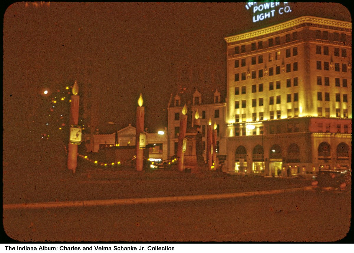 Exceptional Christmas Decorations On Monument Circle, Indianapolis, Indiana, Ca. 1965    The Indianapolis Power And Light Company And The Circle Theatre Are Seen In  The ...