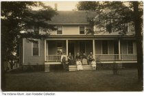 """Image of The Pletcher Family in front of their home, Indiana, ca. 1895 - ON the back is handwritten: """"left to right: Great Uncle John Pletcher, Great Aunt Pearl Pletcher (middle) Uncle Bartley Risser, Great Grandma and Great Grandpa Pletcher. """""""