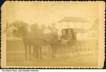"""Image of Stottlemeyer siblings in a horse carriage, Fortville, Indiana, ca. 1890 - Handwritten on the back is """"Mr. Charles Stottlemeyer & sister Nan (?). Fortville, Ind."""""""