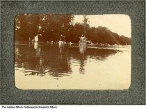 Image of Decorated boats on a lake, possibly Indianapolis, Indiana, ca. 1900 - This image was part of an album containing reconizable images around Indianapolis.