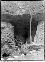 Image of Wood stairway inside Donaldson's Cave, Mitchell, Indiana, 1939  - Notation on envelope: Donaldson's Cave