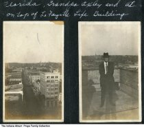 """Image of View from the top of Lafayette Life Building, Lafayette, Indiana, ca. 1915 - The caption reads """"Florida, Grandpa Oxley, and Al on top of the Lafayette Life Building."""""""