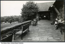 Image of Terrace at Abe Martin Lodge, Nashville, Indiana, ca. 1949 - Dated October 8, 1949 on the back.
