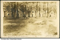 Image of Cabins on the campgrounds, Deputy, Indiana, ca. 1910 - Dated August 24, 1910.