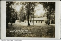Image of Hanging Rock Christian Assembly dorm and pool, West Lebanon, Indiana, ca. 1951 - Postmarked August 16, 1951.