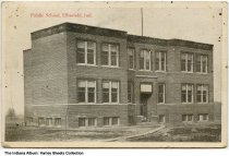 Image of Public School, Elberfield, Indiana, ca. 1917 - Postmarked March 20, 1917.