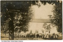 Image of Children in front of the school, Francesville, Indiana, ca. 1909 - Postmarked July 5, 1909.