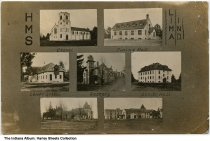 """Image of Howe Military School, Howe, Indiana, ca. 1910 - Postmarked September 21, 1910. Shown are the chapel, dining hall, lower school, rectory, and senior hall.  Text on the front reads """"HMS / Lima IND."""""""