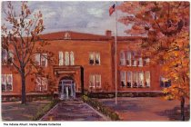 """Image of Postcard of a painting of Ligonier High School, Ligonier, Indiana, ca. 1980 - Original oil painting of the high school by Rose Cunningham. Text on the back: """"Completed in 1877, North and South wings added in 1911, gymnasium added in 1928. Last used January 20, 1976."""""""