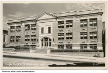 Image of Madison High School, Madison, Indiana, ca. 1952 - Postmarked October 11, 1952. A notation written by the collector states that it was constructed in 1928 and closed in 1960.