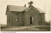 "Image of School House, Mount Etna, Indiana, ca. 1910 - The donor speculates that this was located in Jefferson Township in Huntington County. A second person wrote ""Mt. Etna - First school on So. west corner."""