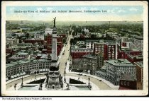 Image of Birds'-eye view of Monument Circle, Indianapolis, Indiana, ca. 1923 - This birds'-eye view shows part of Monument Circle and looks north up Meridian Street. Postmarked July 26, 1923.