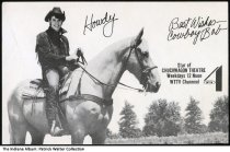 Image of Promotional postcard of WTTV Channel 4's Cowboy Bob , Indianapolis, Indiana, ca. 1975 - The front has a photo of Cowboy Bob on a horse with a printed signature and schedule information. The back has an actual autograph from Cowboy Bob (Robert Glaze).