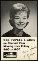 """Image of Jane Woods Dodge of WTTV Channel Four, Indianapolis, Indiana, ca. 1975 - This postcard promotes the children's show """"Popeye and Janie"""" that aired on WTTV from 1963 to 1989."""