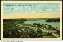 Image of Greenleaf Boulevard on the St. Joe River, South Bend, Indiana, ca. 1930 - This birds'-eye view shows houses along the boulevard and riverfront. Postmarked September 11, 1930.