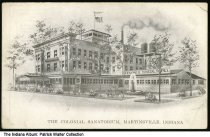 Image of Colonial Sanatorium and Mineral Springs, Martinsville, Indiana, ca. 1910 - Artwork showing The Colonial Sanatorium, Mineral Springs, and grounds.