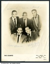 "Image of Promotional photo of ""The Counts"" musical group, Indiana, ca. 1960 - This autographed photo shows the five members of the doo-wop singing group ""The Counts,"" including Chester Brown, James Lee, Robert Penick, Robert Wesley, and Robert Young.  All the band members attended Crispus Attucks high school in Indianapolis. They were represented by the Gale Agency, Inc. of New York City."