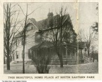 Image of Two-story home in South Eastern Park, Indianapolis, Indiana, 1920 - This home was seen on a map that was stamped November 25, 1920, promoting the sale of empty lots in South Eastern Park, located near Churchman between Tabor and Southern Avenue.