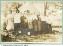 Image of Snapshot of girls posing at a campsite, Rensselaer, Indiana, ca. 1920 - The girls were probably friends of Elizabeth Moore Hoover, Rensselaer High School Class of 1920.