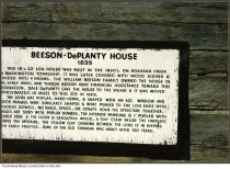Image of Sign for Beeson-DePlanty House in Billie Creek Village, Rockville, Indiana, 1987