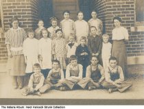 Image of Children in front of Russell School, Hancock County, Indiana, ca. 1910