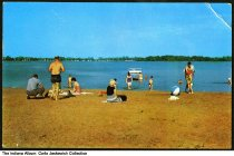 Image of Swimmers on Moose Beach at Lake Manitou, Rochester, Indiana, 1957 - Copyright 1957.