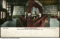 "Image of Two views of the Grand Opera House office interior, Indianapolis, Indiana, ca. 1910 - Both views show a room featuring a long bar with portrait photographs on the back wall. ONe of the views shows a bartender behind the bar and a customer. On the front of the card it reads ""The Cozy - Theatrical Headquarters. Grand Opera House Block, Indianapolis, Ind. Dave Koontz, Propreitor."""