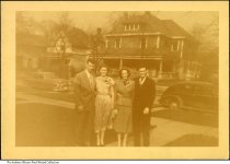 "Image of Wetzels and Bryants, Indianapolis, Indiana, Spring 1951 - Left to right: Don Wetzel, Wanda Wetzel, Mary Wetzel Bryant, and Bill Bryant. Labeled ""Easter '51"" on the back."