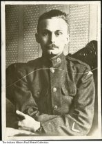 Image of Williard Hauswald in military uniform in Germany during World War I, ca. 1918 - George Willard Hauswald (1896-1926) of New Albany, Indiana was the older brother of Martha Hauswald Wetzel.