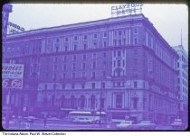 Image of Claypool Hotel, Indianapolis, Indiana, 1968 - Time stamped October 1968. There was a large fire at the hotel on June 23, 1967, and the building was demolished two years later.