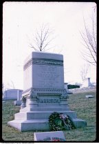 Image of Benjamin Harrison grave site at Crown HIll Cemetery, Indianapolis, Indiana, 1971 - Time stamped February 1971.
