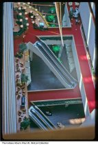 Image of Escalators inside the Hyatt Regency Hotel, Indianapolis, Indiana, 1978 - Time stamped December 20, 1978. The view is from the lobby elevator on an upper floor.