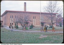 Image of Students by a Technical High School building, Indianapolis, Indiana, 1969 - Time stamped December, 1969.