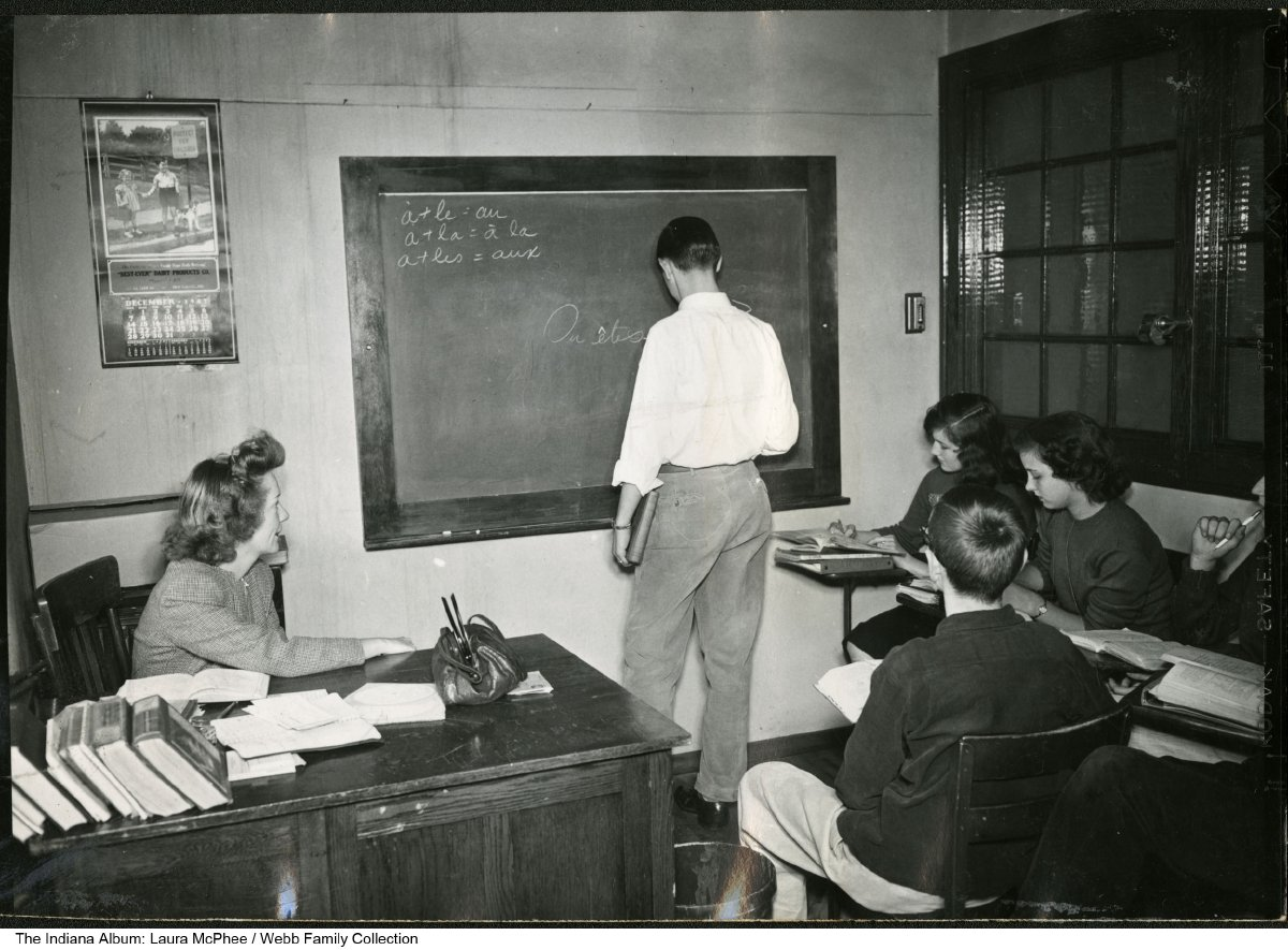 French class at New Castle High School, New Castle, Indiana