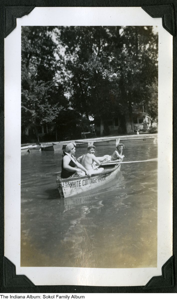 Girls In A Canoe Marked White Cottage Park Indian Lake Ohio Circa 1942 From An Album Owned By A Young Woman From Anderson Indiana