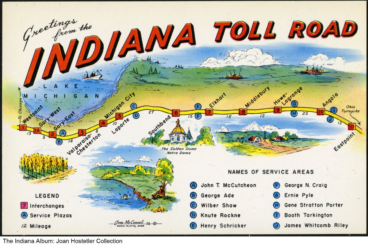 Indiana Toll Road Map Map of the Indiana Toll Road, Northern Indiana, ca. 1955   This  Indiana Toll Road Map