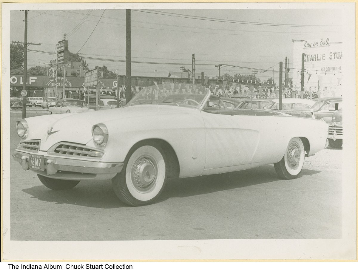 white convertible studebaker on the charlie stuart inc car lot indianapolis indiana 1955. Black Bedroom Furniture Sets. Home Design Ideas