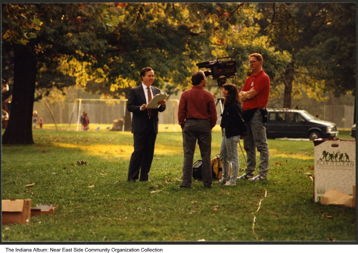 David James of Channel 6 News at a park, Indianapolis, Indiana