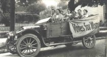 Image of Oshkosh Equal Suffrage league in their touring car - P2000.32.19