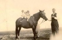 """Image of """"Uncle Dan Clancy"""" with Horse - P2005.10.34"""