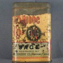 Image of E. S. Kibbe sage tin, front view