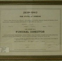 Image of License - funeral director's license No. 623