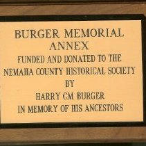 Image of Plaque - Burger Memorial Annex Funded & Donated by Harry C.M. Burger