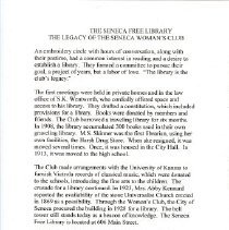 Image of Manuscript - The Library: the legacy of the Seneca Woman's Club